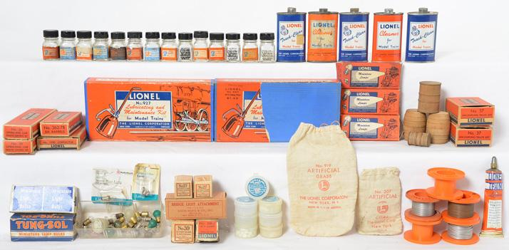 Group of postwar Lionel smalls smoke pellets, 927 lube sets, track cleaner, lamps and more