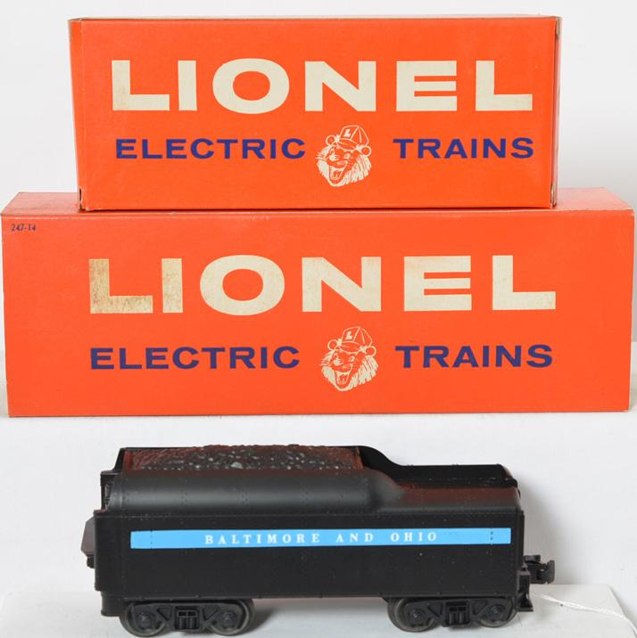 Mint Lionel 247 and 247T Baltimore and Ohio steam locomotive with boxes
