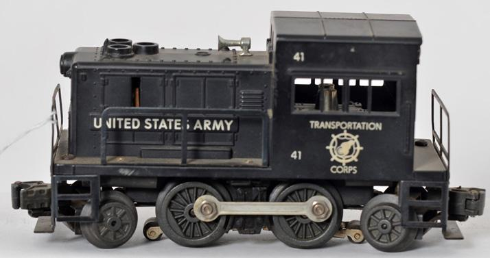 Tough Lionel 41 Transportation Corps switcher with black painted body