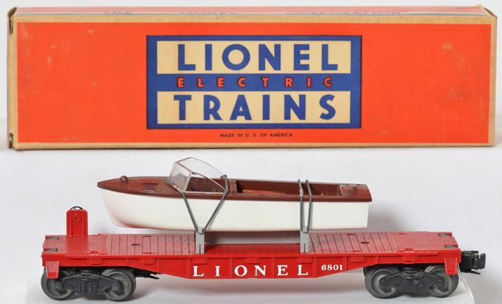 Lionel 6801 flat with boat in solid original box