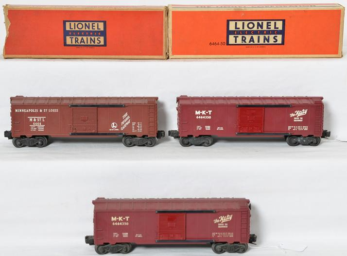 3 Lionel 6464 boxcars, two 6464-350 MKT and 6464-50 M&St.L