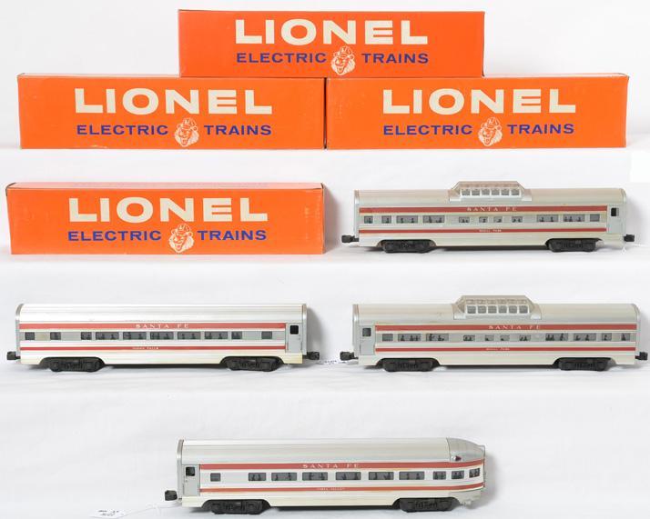 Lionel four car Aluminum Santa Fe red strip passenger set 2563 2562 2562 2561