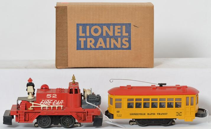 Lionel black letter 60 trolley and 52 fire car