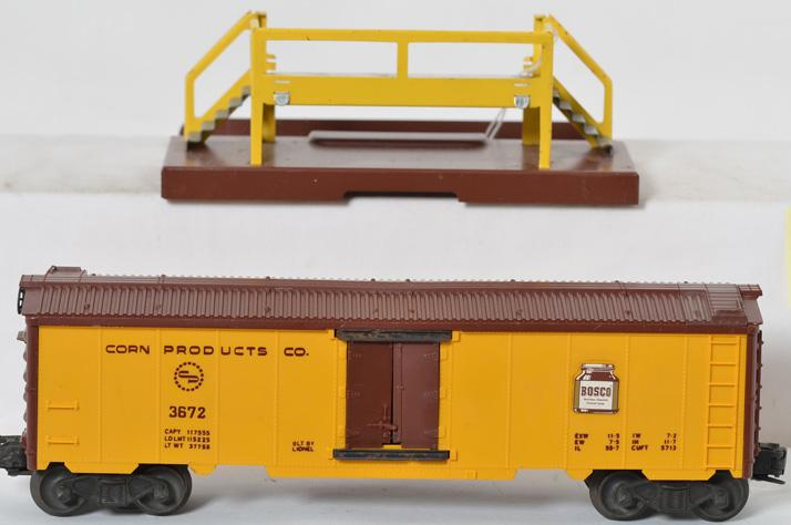 Lionel 3672 operating Bosco car with platform