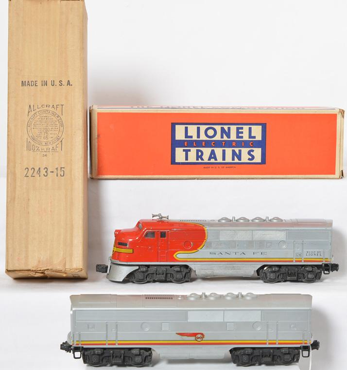 Lionel Santa Fe 2243P and 2243C F-3 A-B diesel locomotive pair in original boxes