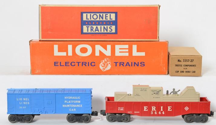 Lionel 3444 animated gondola and 3357 Cop and Hobo car in original boxes
