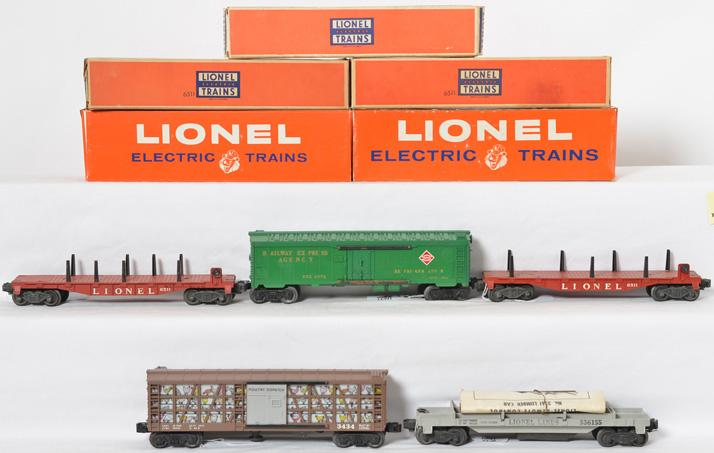 Lionel 3434, 6572, 6511, 6511, and 3361X freight cars with boxes