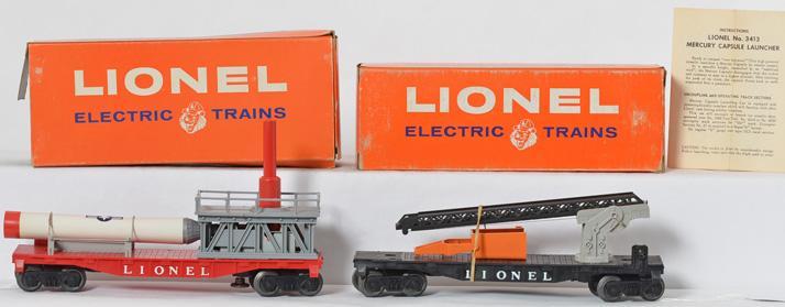 Lionel unrun 3413 Mercury Capsule car and 6512 cherry picker cars
