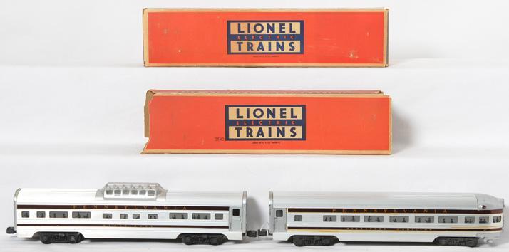Lionel Pennsylvania aluminum passenger cars 2542 Betsy Ross and 2541 Alexander Hamilton