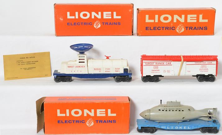 Lionel 3470, 3830, and 3830 operating cars with original boxes
