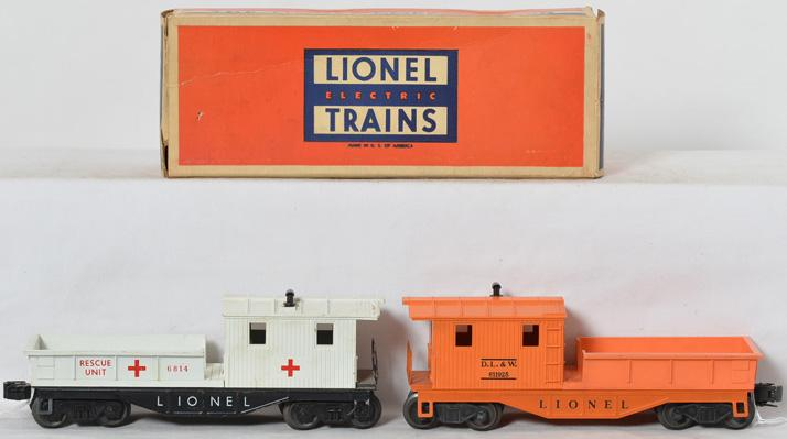 Lionel 6814 rescue work caboose and 6119-25 orange DL&W caboose with box