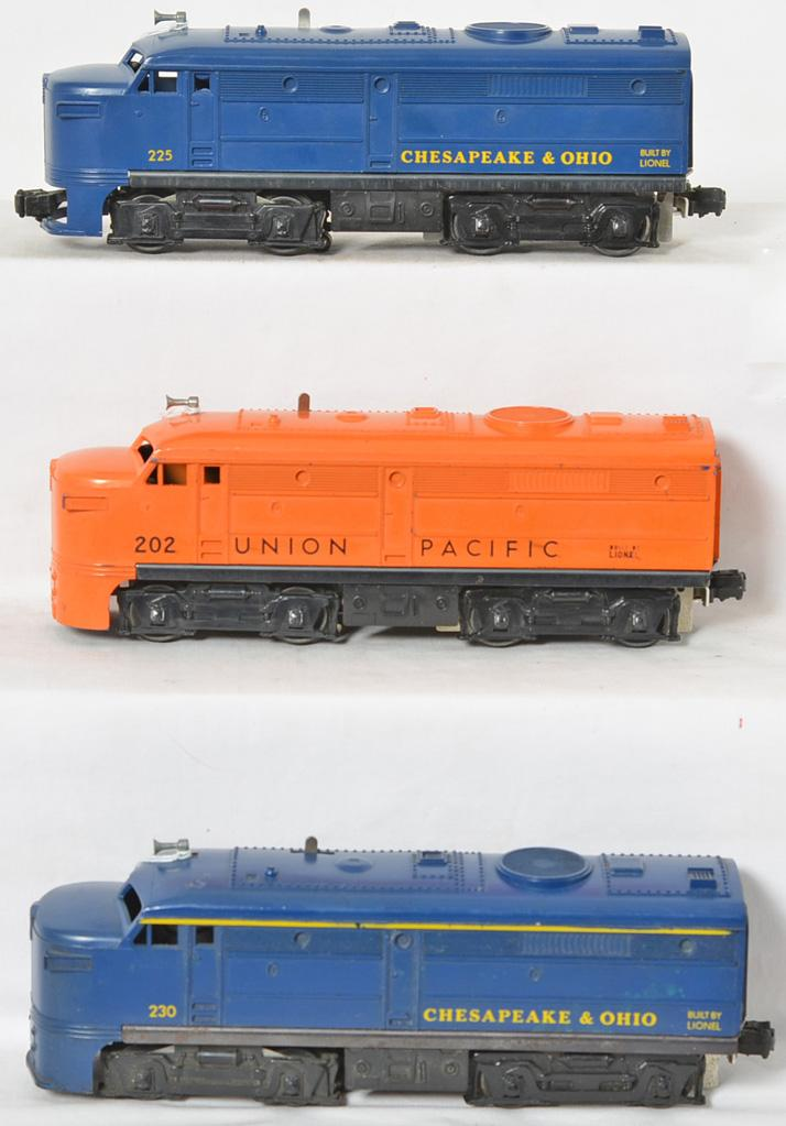 Three Lionel Alco diesel locomotives 202, 225, 230 C&O Union Pacific