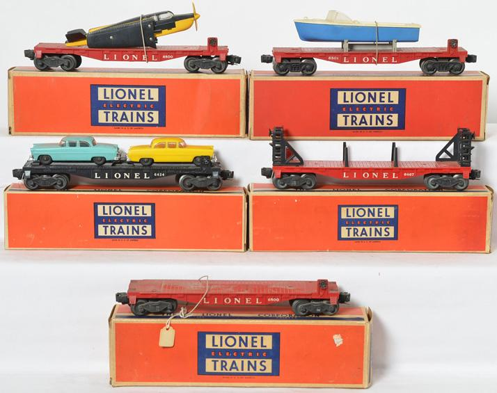 5 Lionel flat cars 6800, 6800, 6424-60, 6467, 6801-75