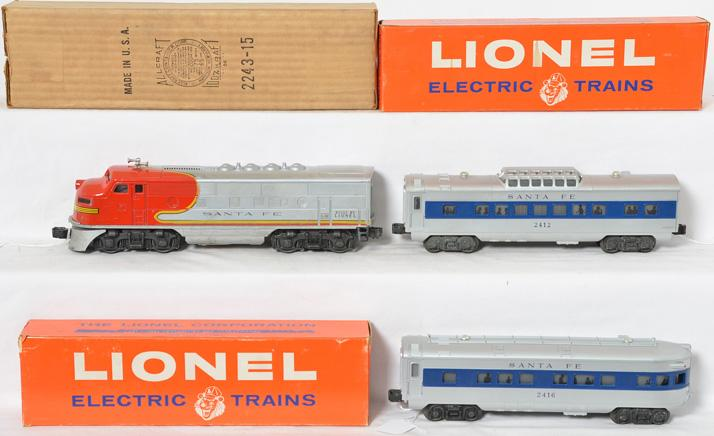 Lionel Santa Fe F-3 and passenger cars 2243PX, 2412, 2416