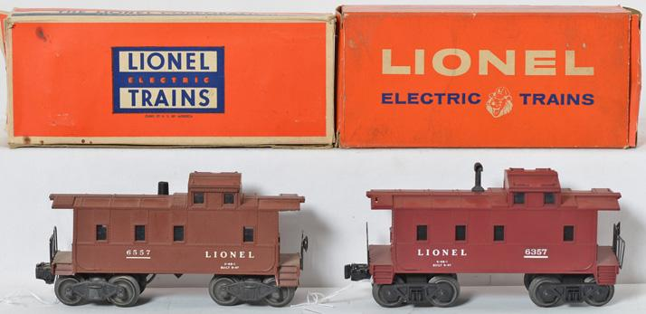Lionel 6557 smoking and 6357 illuminated Lionel cabooses in original boxes