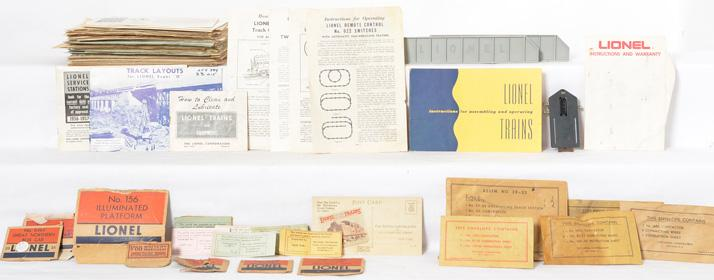 Lionel Postwar O gauge Big Pile of Original Instruction Sheets and Operating Packets