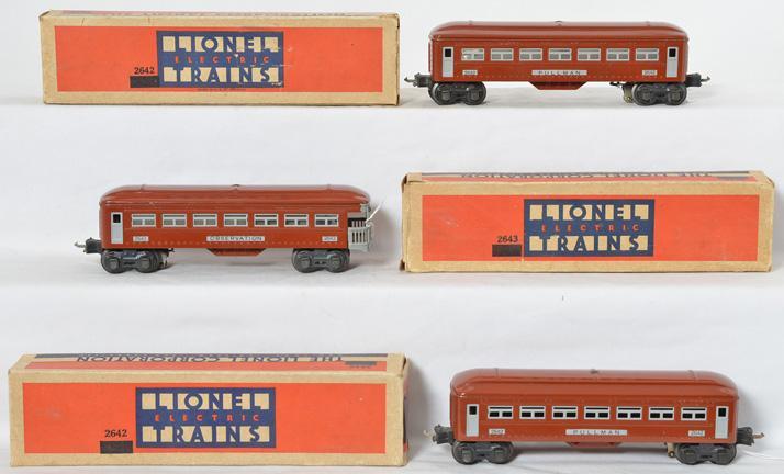 Lionel prewar O gauge 2642 2642 2643 Brown Sheet Metal Passenger Cars w/ Grey Trim
