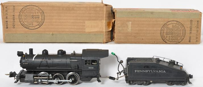 Lionel prewar O gauge 227/2227B Semi Scale Locomotive and Tender with Original Boxes