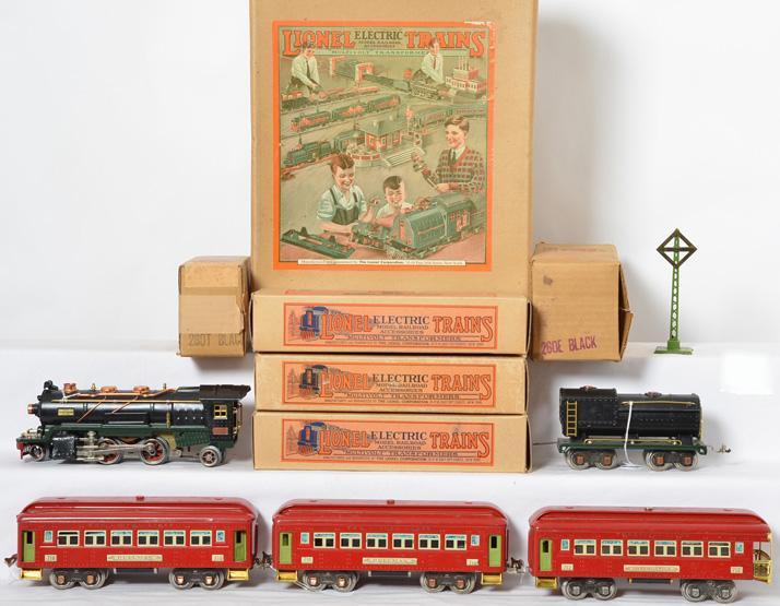Outstanding Lionel prewar O gauge 241E Passenger Set 260E Locomotive w/ Red 710 Series Passenger Cars