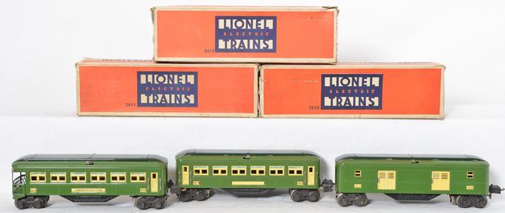 Lionel prewar O gauge 2613 2614 2615 Green Sheet Metal Passenger Car Set