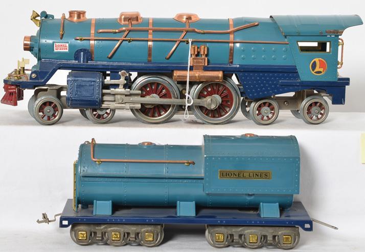 Lionel prewar standard gauge 400E Blue comet Locomotive & 400T Tender