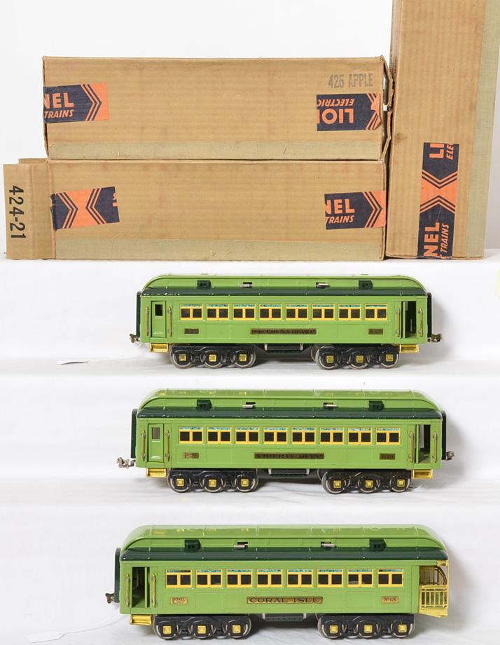 Lionel prewar standard gauge Stephen Girard 424, 425, 426 Passenger cars w/ Brick Original Boxes