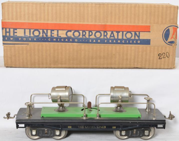 Lionel prewar Standard Gauge 220 Searchlight Car with Brick Brick Original Box