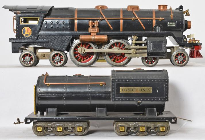 Lionel black 400E steam locomotive with copper trim and brass journals