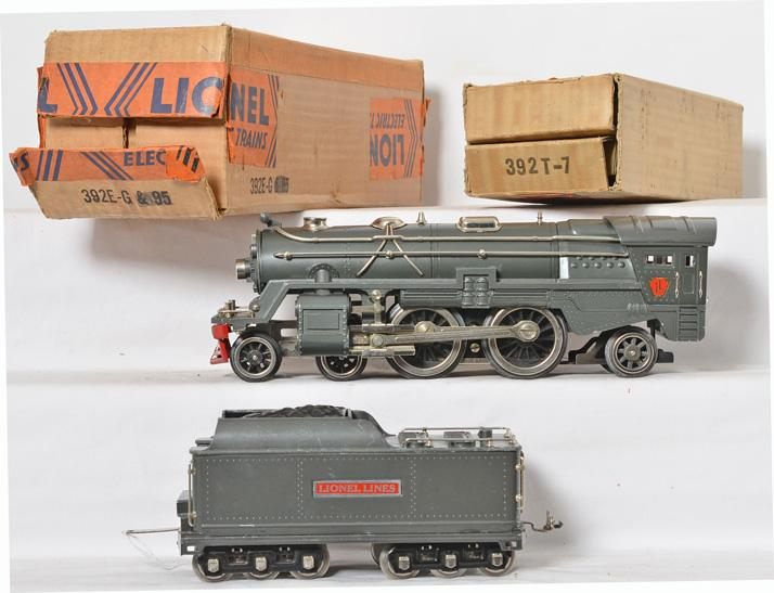 Lionel standard gauge gunmetal 392E with 392W tender and original boxes