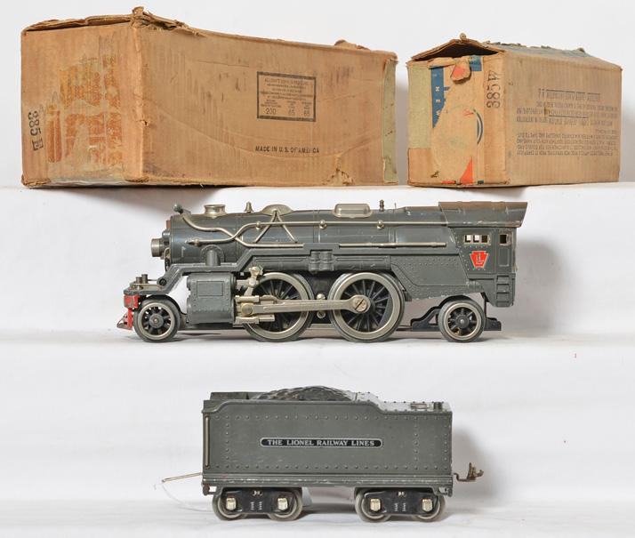 Lionel standard gauge gray 385E steam locomotive with 385W tender in boxes