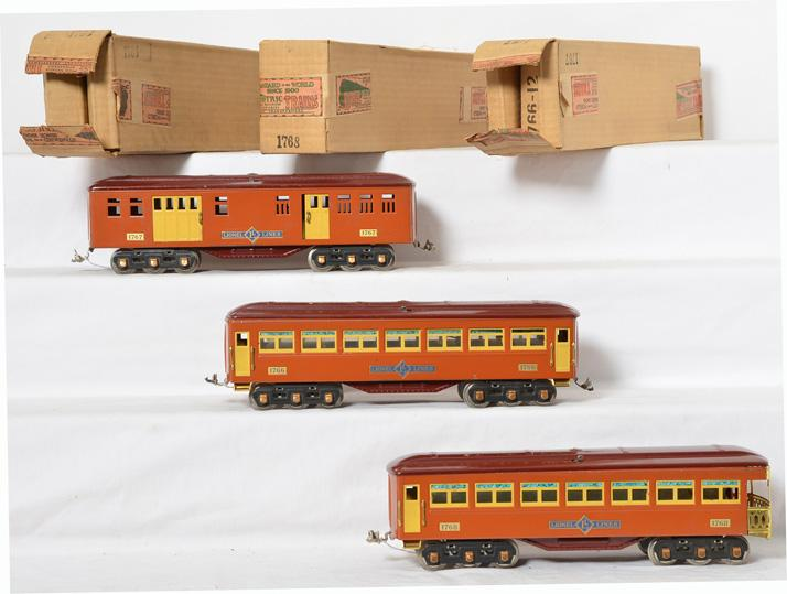 Lionel/Ives transitional cars in original boxes 1766, 1767, 1768