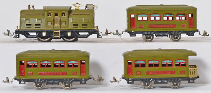 Lionel prewar pea green set with 252, 529, 529, 539
