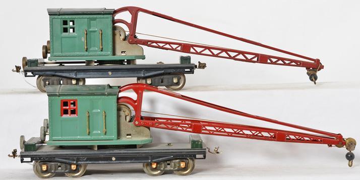 Pair of Lionel 219 standard gauge peacock cranes