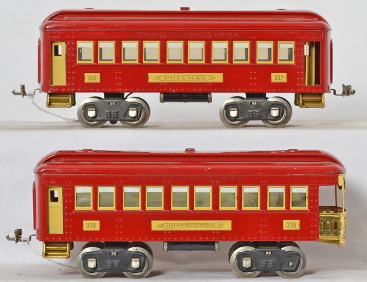 Lionel standard gauge 337 and 338 passenger cars