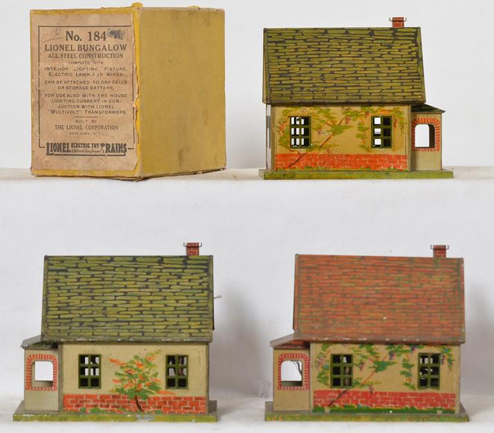 3 Lionel 184 bungalows with one original box