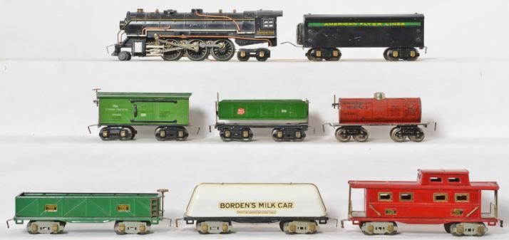 8 American Flyer prewar O gauge locomotive, tender, and freight cars