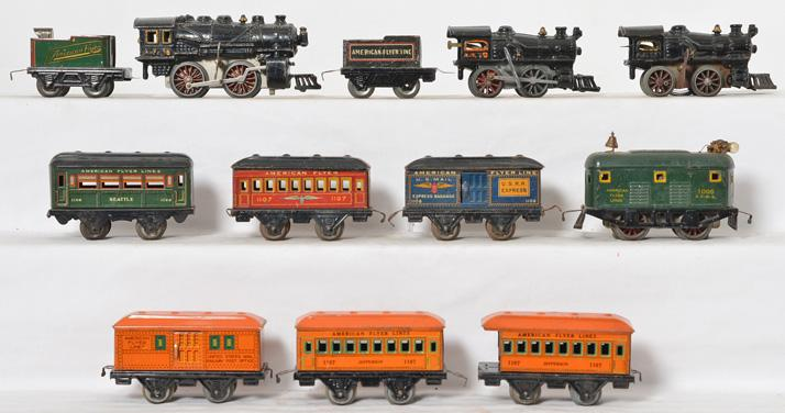 Large group of American Flyer prewar windup and electric tinplate trains