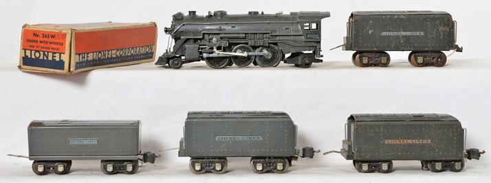 Lionel 225E steam locomotive with four tenders