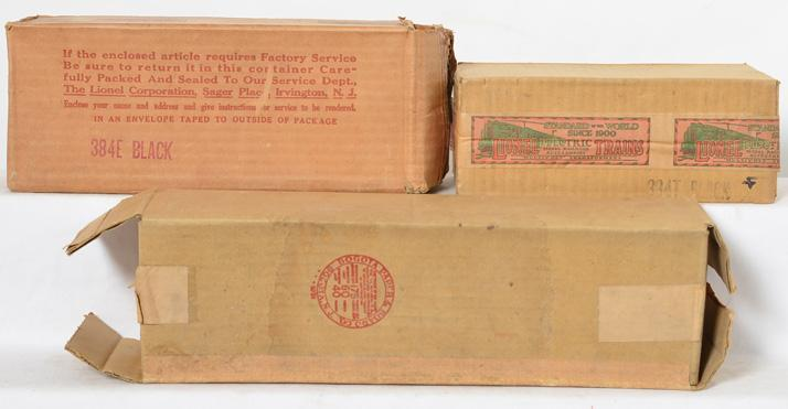 Lionel Standard Gauge Empty boxes 426 Passenger 384E Loco and 384T Tender