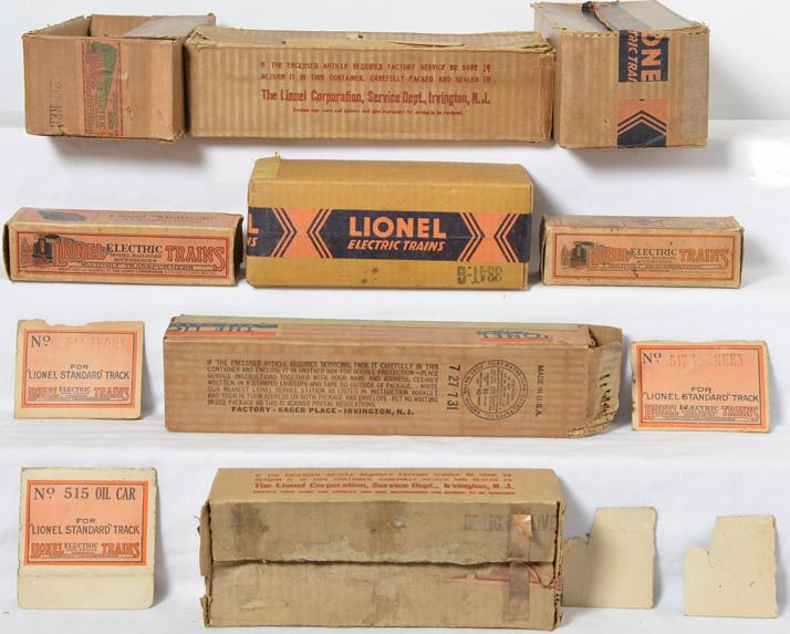 Lionel Prewar Empty boxes 217, 8E, 218, 213, 384T-G, 529, 259T and 753TT
