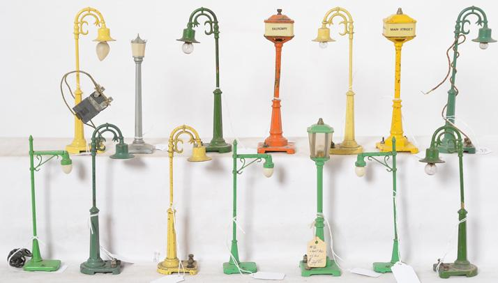 Thirteen Lionel Prewar Street Lamps Accessories: Seven 58, Two 57, 35, Three 64 and 56