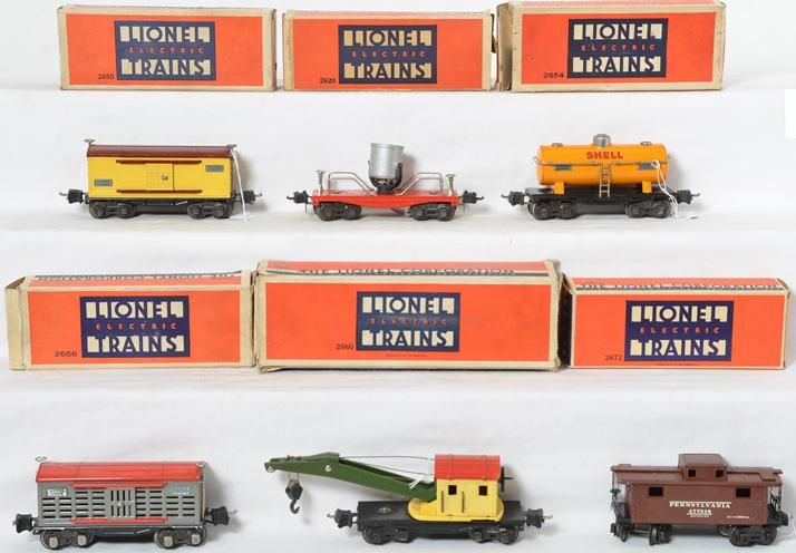 Lionel Prewar 2656, 2660, 2654, 2620, 2655 and 2672 with Original boxes