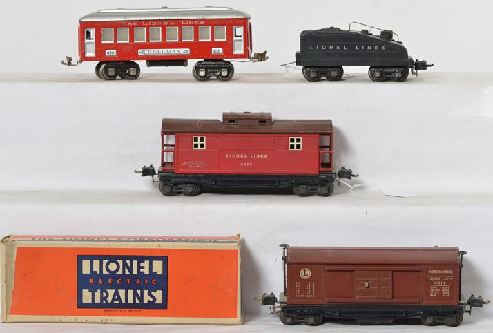 Lionel Prewar 610, 2817, 2201T and 3814.
