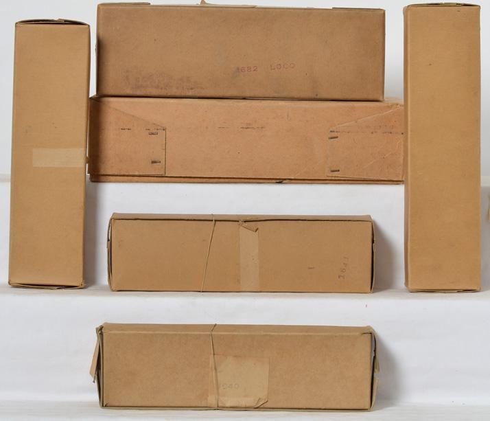 Six American Flyer Prewar Empty Boxes including Hiawatha Set