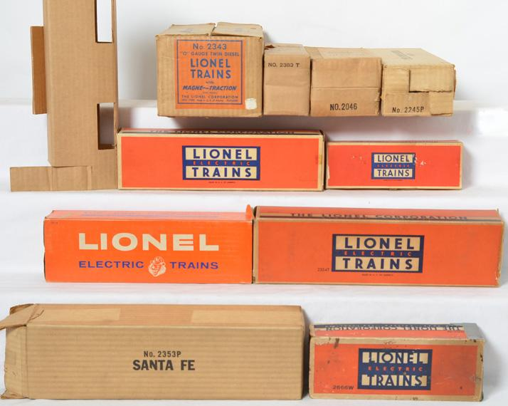 Ten Lionel Postwar Empty Boxes: 2383T, 2343 Master Carton, 2245P, 6026W, 2354T and others