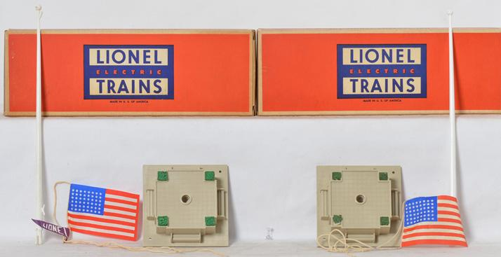 Two Lionel Flag Pole sets with Original boxes.