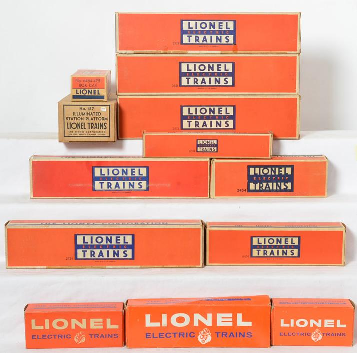 Lionel Postwar Group of Empty Boxes 2531, 2532, 2533, 2534, 2454, 6518 and others