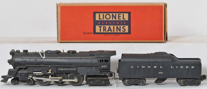 Lionel Postwar 665 Steam Locomotive and 2046W Tender with Original Box