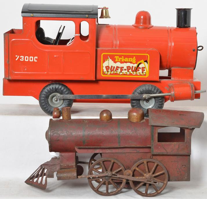 Tri-ang Puff Puff Train and 1900''s Tin Hill climber locomotive with flywheel