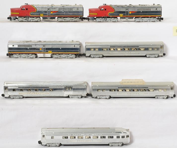 American Flyer chrome Santa Fe passenger set 470, 471, 473, 960, 961, 962, 963